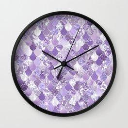 Mermaid Art, Cute Purple, Fun Bathroom Art Wall Clock