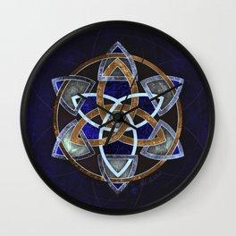 Golden Triskelion Mandala Wall Clock