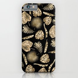 Modern gold tropical leaves pattern iPhone Case