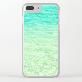 GREEN OMBRE OCEAN Clear iPhone Case