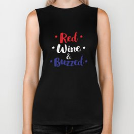 Red Wine And Buzzed Funny 4th Of July Biker Tank