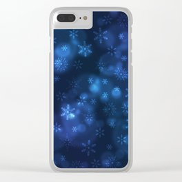 Blue Snowflakes Winter Christmas Pattern Clear iPhone Case