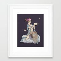 budi satria kwan Framed Art Prints featuring Floating Kwan Yin by LaBoutiques