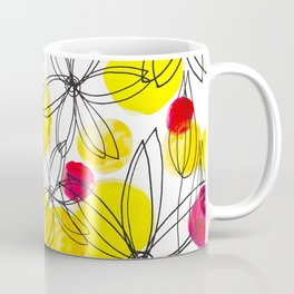 Pineapple Upside Down Floral: Bright Paint Spots with Black Ink Floral Elements Coffee Mug