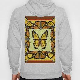 ORIGINAL DESIGN  ABSTRACT OF YELLOW & ORANGE MONARCH BUTTERFLIES BROWN ART Hoody