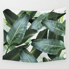 Tropical Palm leaf, banana leaf, greens, Hawaii, retro style Wall Tapestry