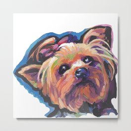 Yorkie Yorkshire Terrier Dog Portrait Pop Art painting by Lea Metal Print