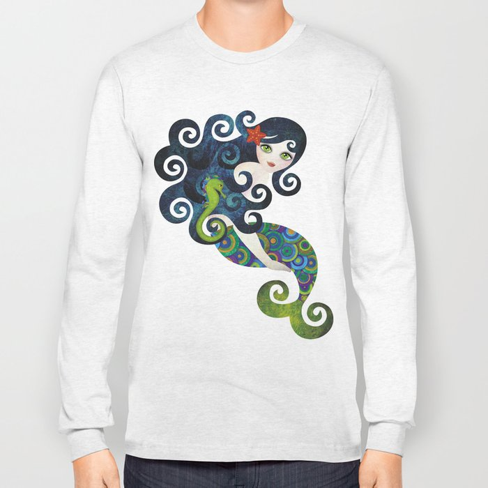 Aquamarine Mermaid Long Sleeve T-shirt