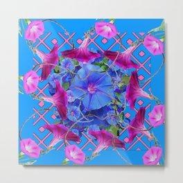 Purple & Pink Morning Glories Blue Pattern Art Metal Print