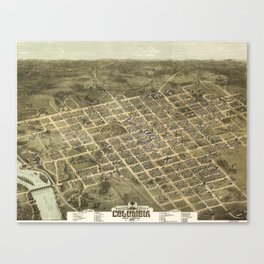 Vintage Pictorial Map of Columbia SC (1872) Canvas Print