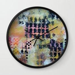 Thinking Inside the Box - Mixed Media Acrylic Jelly Print Abstract Modern Art, 2015 Wall Clock