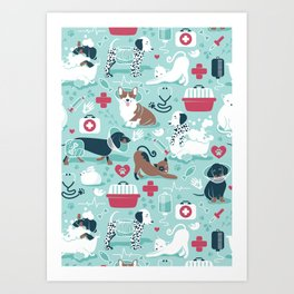 Veterinary medicine, happy and healthy friends // aqua background Art Print