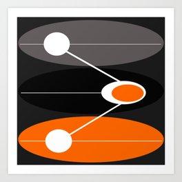 Orange, black, and gray Mid Century Modern Print Art Print