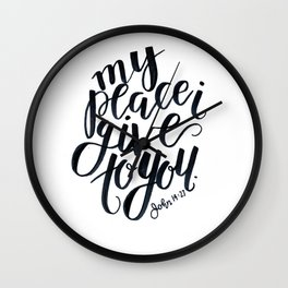 john bible verse calligraphy lettering black and white jesus christian peace Wall Clock