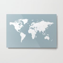Minimalist World Map in Slate Blue Metal Print