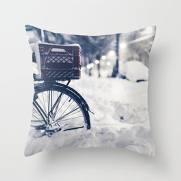 Milk Crate on Bike in Snow Throw Pillow