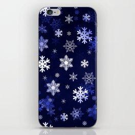 Dark Blue Snowflakes iPhone Skin