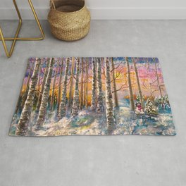 Winter Sunset Landscape Impressionistic Painting With Palette Knife Rug
