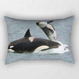Playful Orcas Rectangular Pillow