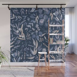 Eucalyptus Pattern - Blue inverted Wall Mural