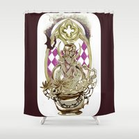 tarot Shower Curtains featuring Moon Tarot by A Hymn To Humanity
