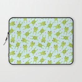 Kawaii Happy Frogs on Blue Laptop Sleeve