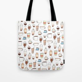cute coffee pattern on white Tote Bag