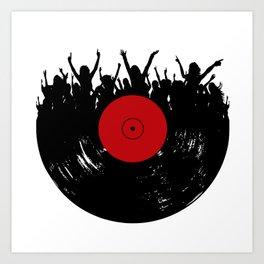 Vinyl record party Art Print