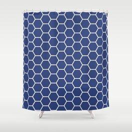 Blue honeycomb geometric pattern Shower Curtain
