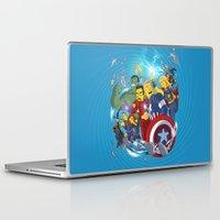superheroes Laptop & iPad Skins featuring Superheroes by Adrien ADN Noterdaem