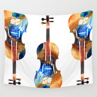 violin Wall Tapestries featuring Violin Art By Sharon Cummings by Sharon Cummings