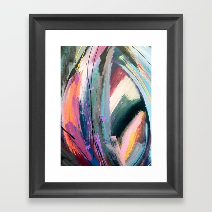 Eye of the Beholder [4]: a colorful, vibrant abstract in purples, blues, orange, pink, and gold Gerahmter Kunstdruck