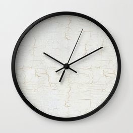White Crackle Paint on Gold Pattern Wall Clock