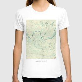 Nashville Map Blue Vintage T-shirt