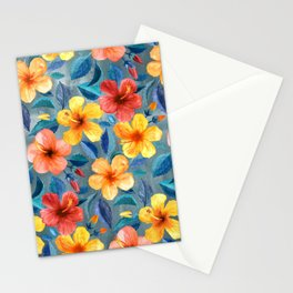 Colorful Watercolor Hibiscus on Grey Blue Stationery Cards