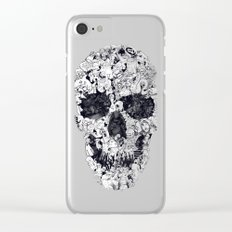 Doodle Skull BW Clear iPhone Case