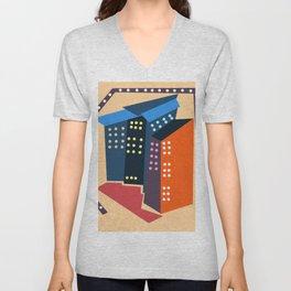 City pattern Unisex V-Neck