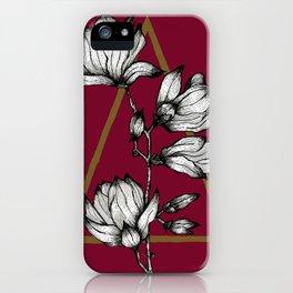 Love for Florals   Flower Illustration   Vintage Summer Magnolia Flowers Line Art iPhone Case