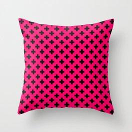 Black Crosses on Hot Neon Pink Throw Pillow