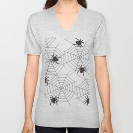 Black Spider Halloween web Unisex V-Neck