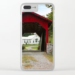 Covered bridge and oneroom school Clear iPhone Case