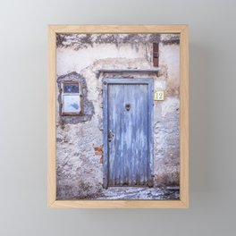 Old Blue Italian Door Framed Mini Art Print