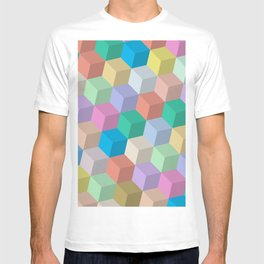 Pastel Colored Perspective Cubes T-shirt