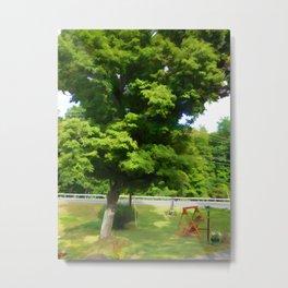 Wooden garden swing under maple tree Metal Print