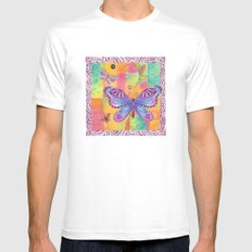 Indigo Butterfly MEDIUM White Mens Fitted Tee