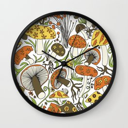 Hand-drawn Mushrooms Wall Clock