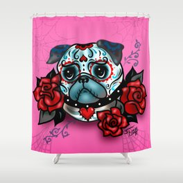 Sugar Skull Pug with Roses on Hot Pink Shower Curtain