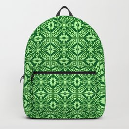 Moroccan Tile, Emerald and Pastel Green Backpack