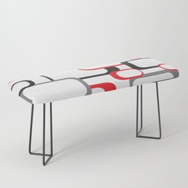 Red Black Gray Retro Square Pattern White Bench