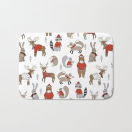 Christmas winter woodland animals foxes deer bunnies moose holiday cute design Bath Mat